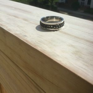 Other - Stainless Steel Ring w/Black Chain Detail